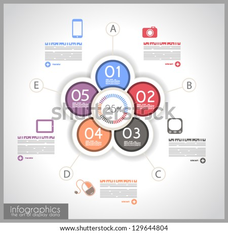 Infographic template design - Original geometric paper shapes with shadows. Ideal to display data and informations with modern style. - stock vector