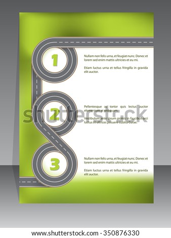 Infographic template design with two lane road swirling and  - stock vector