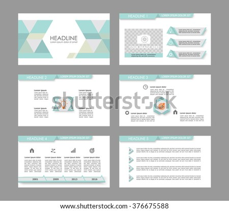 Infographic template for presentation slides with graphs, charts and symbols.Light cyan  version. - stock vector