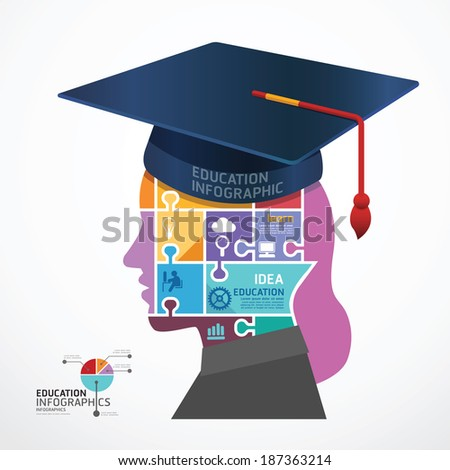 infographic Template Graduation cap with Head jigsaw banner . concept vector illustration - stock vector