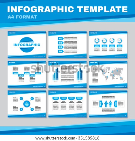 Infographic template in A4 format in blue color. Infographic vector pages in A4 format. Business presentation on A4 pages. Infographic design elements. Big set of infographics elements.   - stock vector