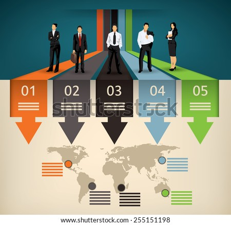 Infographic template of five different option and a world map with points of interest and a business team people illustration - stock vector