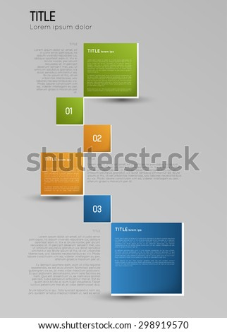 infographic template, option squares banners with shadow, design element - stock vector