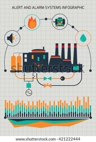 Infographic template. Power station. Automatic system monitoring and control. - stock vector