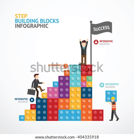 Infographic Template step building blocks banner . concept vector illustration - stock vector