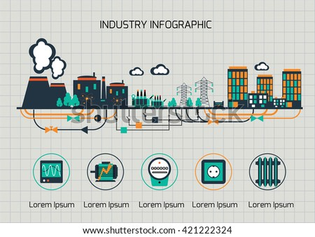 Infographic template.  The power supply of town by nuclear power station. - stock vector