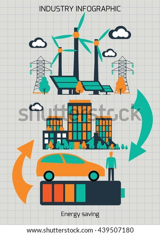 Infographic template. The power supply of town by wind generators. - stock vector