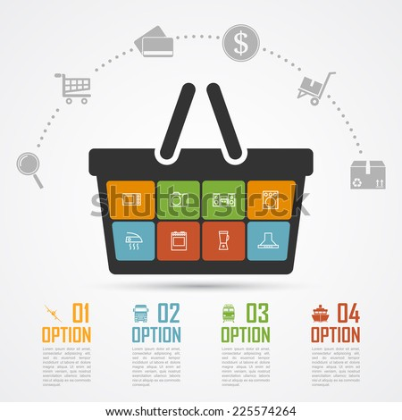 infographic template with basket and icons, e-commerce, online shopping, shipping, delivery concept - stock vector