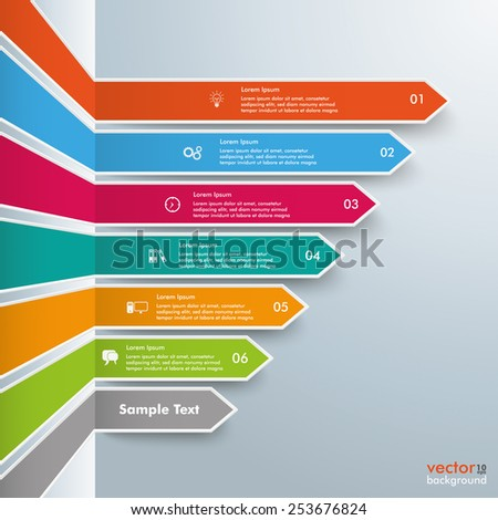 Infographic template with broken arrows on the gray background. Eps 10 vector file. - stock vector