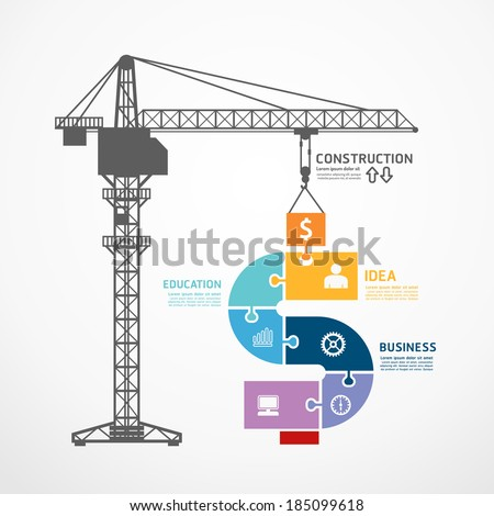 infographic Template with construction tower crane jigsaw banner . concept vector illustration - stock vector