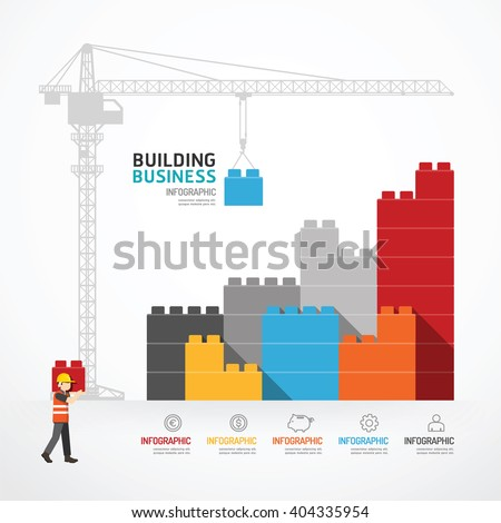 Infographic Template with crane building blocks. concept vector illustration - stock vector