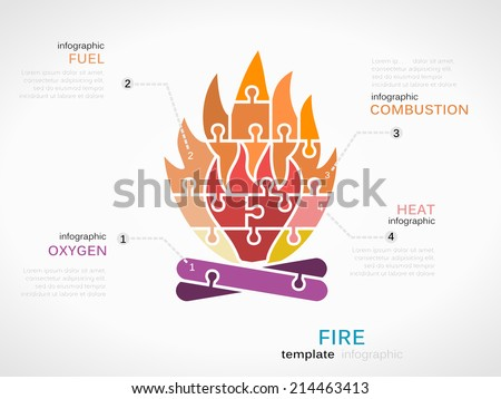 Infographic Template Fire Symbol Made Out Stock Vector 214463413