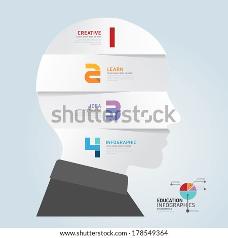 infographic Template with Head paper cut banner . concept vector illustration - stock vector