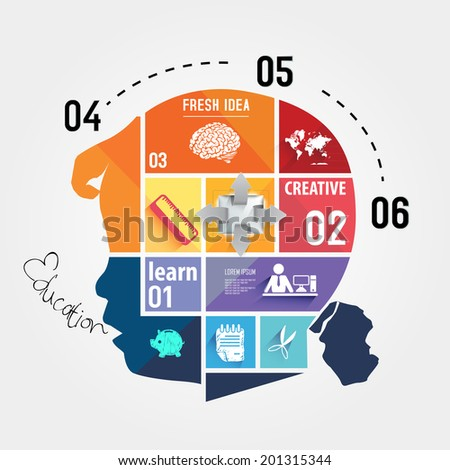 infographic Template with Head puzzle, silhouette of a child head with the brain of the puzzles and education icons. the concept of education of children. - stock vector