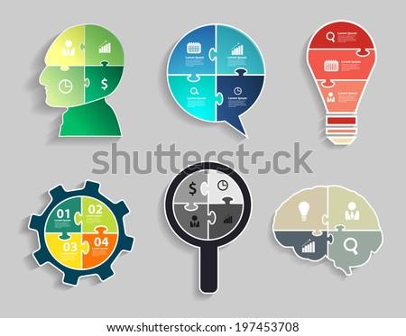 Infographic template with Head, Speech bubble, Light bulbs, Gear wheel, Magnifier, Brain, Jigsaw banner concept modern design template workflow layout, diagram, step up options, Vector illustration - stock vector