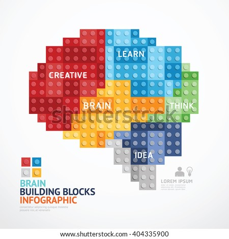 Infographic Template with heart shape building blocks banner . concept vector illustration - stock vector
