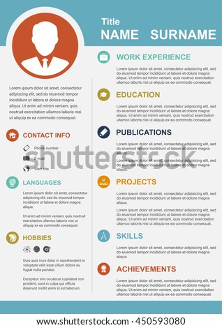 infographic template with icons for cv, personal profile, resume organisation - stock vector