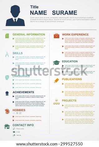 infographic template with icons for cv, personal profile, resume organization