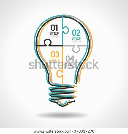 infographic Template with Light bulbs jigsaw banner. Flat linear infographic. - stock vector