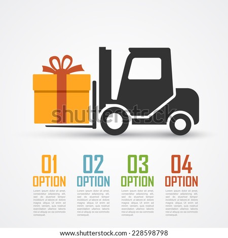 infographic template with loader silhouette and a gift - stock vector