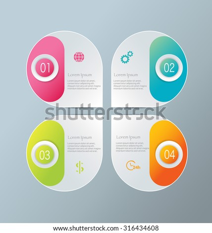 Infographic template with step options for business, startup concept, web design, data visualization, banner, brochure or flyer layouts, presentation, education. Abstract 3d stock vector illustration. - stock vector