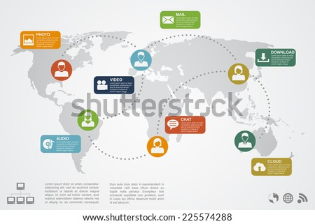 infographic template with world map, people silhouettes and icons, social network, communication, cloud concept - stock vector