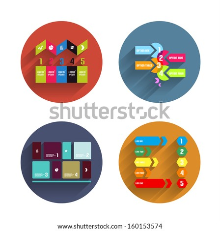 Infographic templates inside colorful circles. Set of flat icons with shadow for business / technology presentation / mobile app