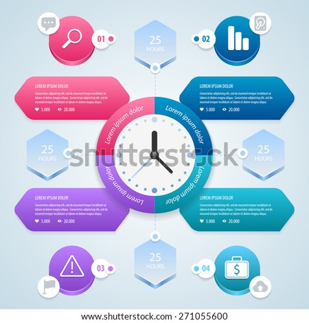 infographic. Time management planning infographics template. Vector illustration. Eps 10. - stock vector
