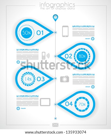 Infographic timeline design template with paper tags. Idea to display information, ranking and statistics with orginal and modern style. - stock vector