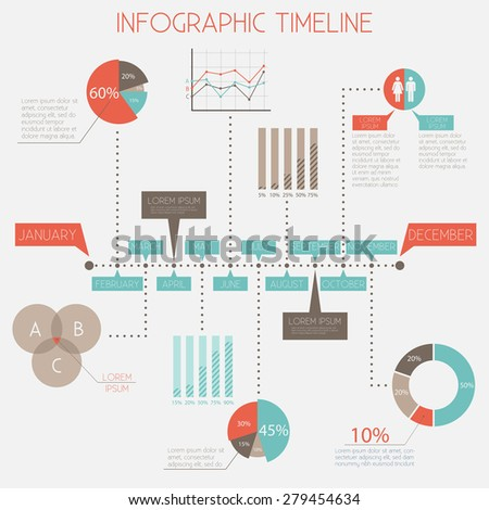 Infographic Timeline - infographic elements set, vector eps10 - stock vector