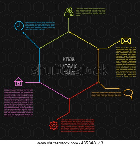 Infographic timeline scheme in polygonal shape. Vector infographic template illustration