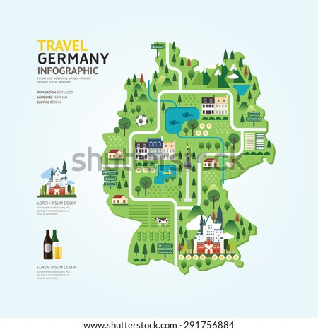 Infographic travel and landmark germany map shape template design. country navigator concept vector illustration / graphic or web design layout. - stock vector