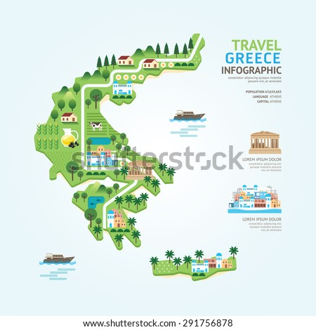 Infographic travel and landmark greece map shape template design. country navigator concept vector illustration / graphic or web design layout. - stock vector