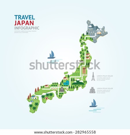 Infographic travel and landmark japan map shape template design. country navigator concept vector illustration / graphic or web design layout. - stock vector