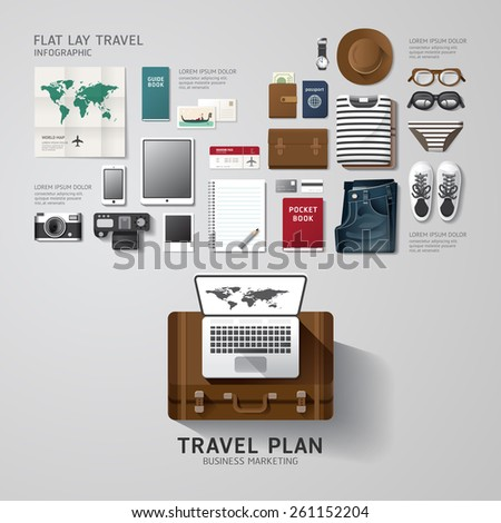 Infographic travel business flat lay idea. Vector illustration hipster concept.can be used for layout, advertising and web design. - stock vector