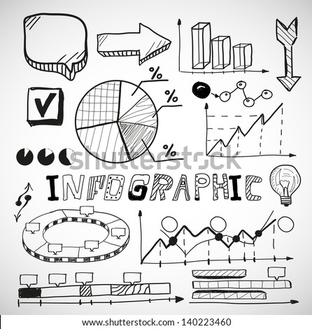Infographic vector business graphs doodles - stock vector
