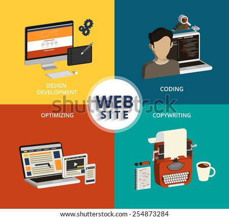 Infographic vector concept illustration of website building process. Isometric view - stock vector