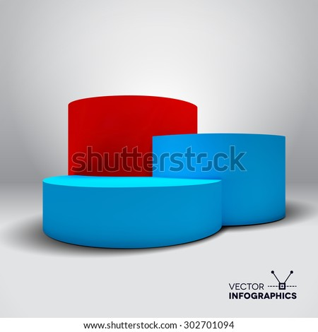 Infographic vector 3D pedestal graph with blue and red columns - stock vector