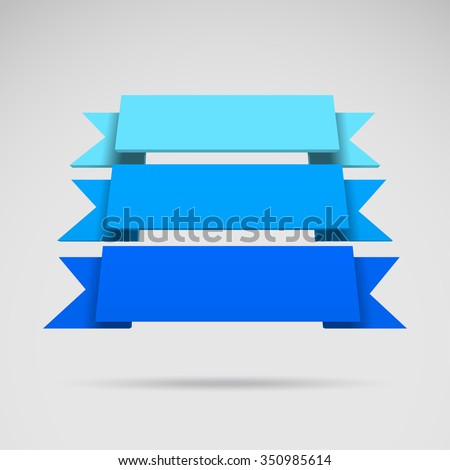Infographic vector 3D styled blue ribbons for your presentation - stock vector