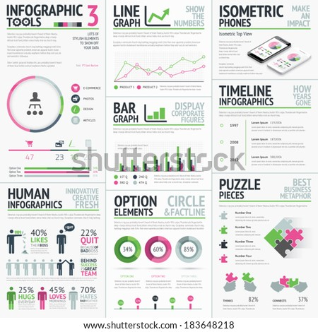 Infographic vector elements template. Big set of typography based creative objects easy to edit. - stock vector