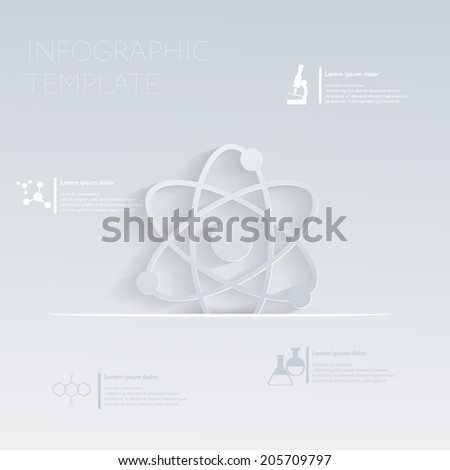 Infographic. vector illustration, the atom, molecule. the symbol of physics and chemistry. template graphic or website layout. paper flat icon with a shadow.