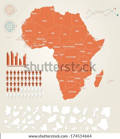 Infographic vector illustration with Map of Africa - stock vector