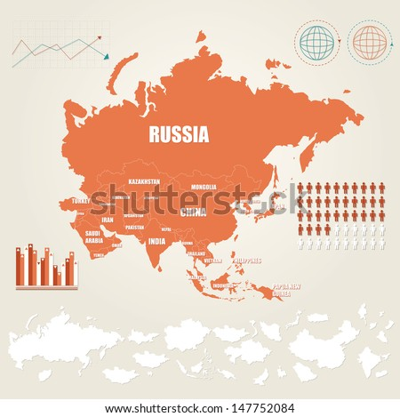 Infographic vector illustration with Map of Asia  - stock vector