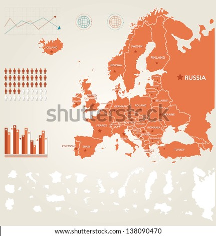 Infographic vector illustration with Map of Europe - stock vector