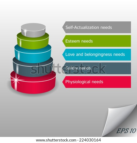 Infographic - vector maslow pyramid on a gray background - stock vector