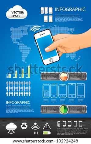 infographic vector mobile set - stock vector