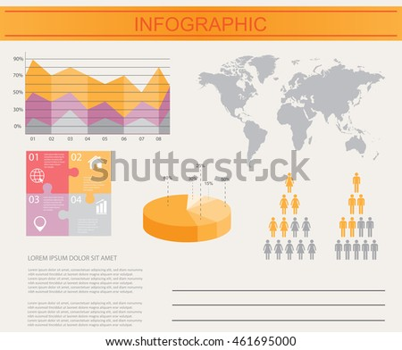 Infographic vector template.World map with infographic elements.