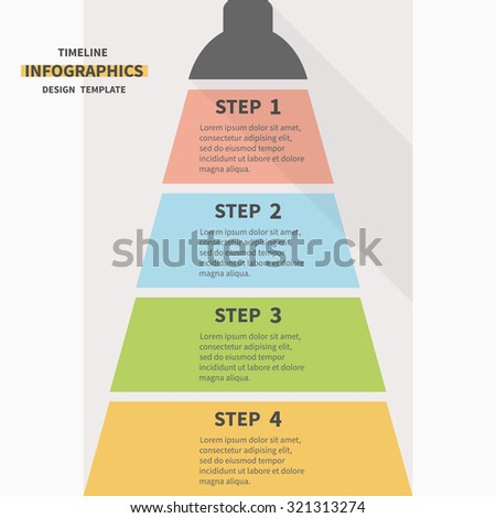 Infographic vertical template design. Four steps for workflow layout, diagram, number options, web design. - stock vector