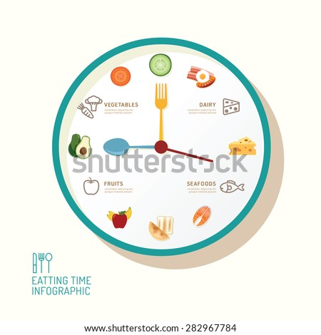 Infographic watch and flat icons idea. Vector illustration. eatting time concept. can be used for layout, banner and web design. - stock vector