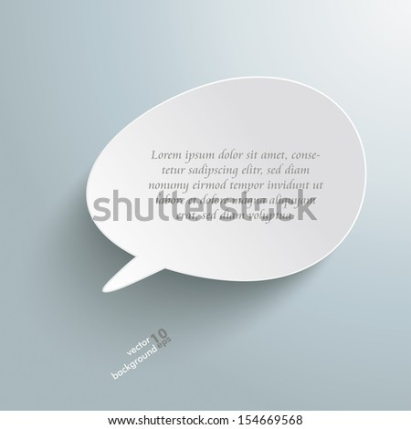 Infographic with bevel speech bubble on the grey background. Eps 10 vector file. - stock vector